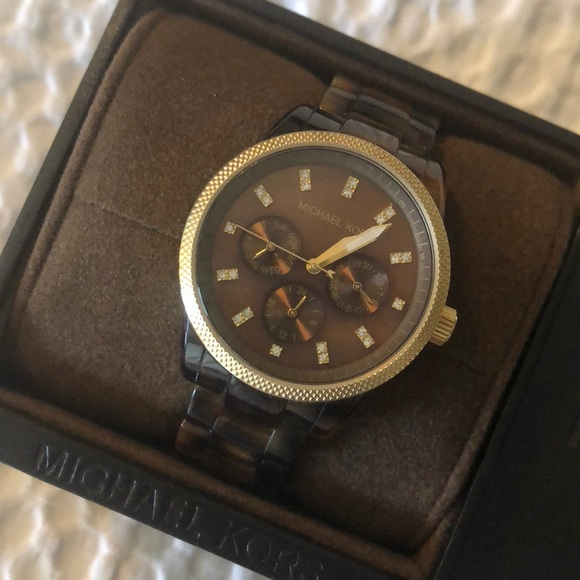 Michael Kors brown tortoise shell watch